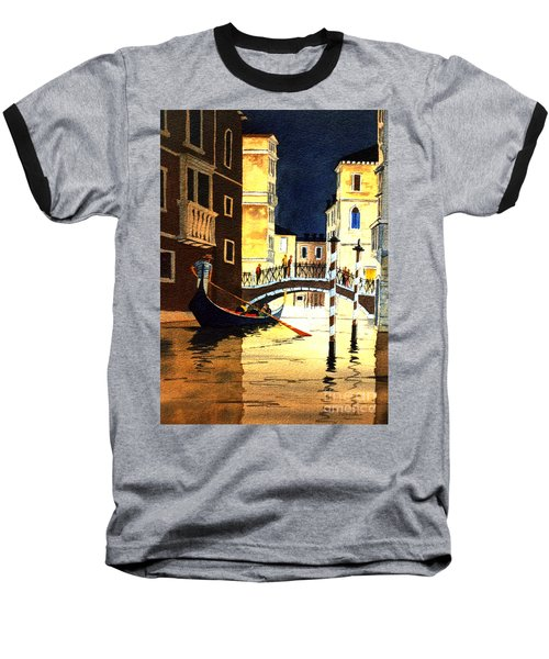 Baseball T-Shirt featuring the painting Evening Lights - Venice by Bill Holkham