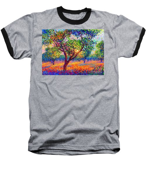 Baseball T-Shirt featuring the painting Evening Poppies by Jane Small