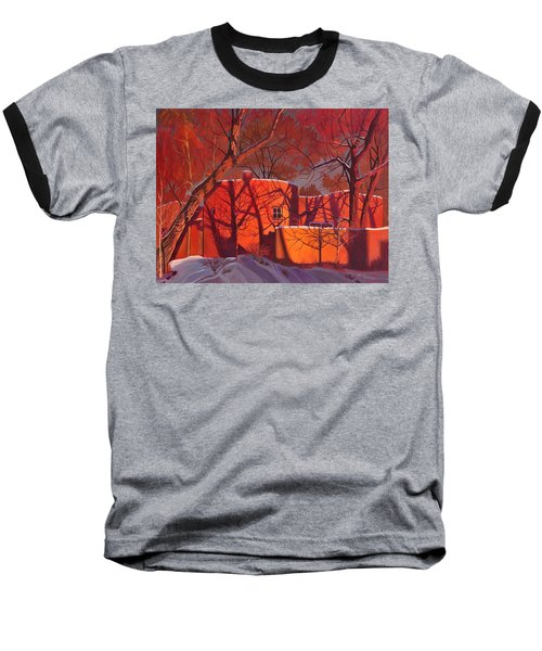 Baseball T-Shirt featuring the painting Evening Shadows On A Round Taos House by Art James West