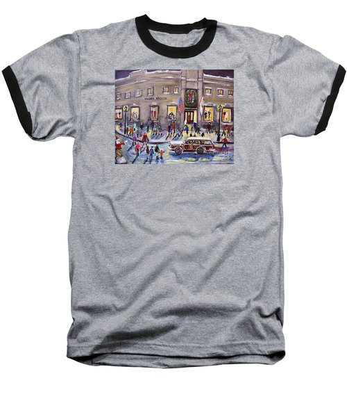 Evening Shopping At Grover Cronin Baseball T-Shirt by Rita Brown