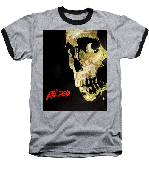 Evil Dead Skull Baseball T-Shirt by Marisela Mungia