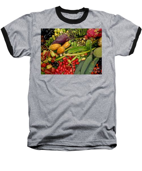 Exotic Fruits Baseball T-Shirt by Carey Chen