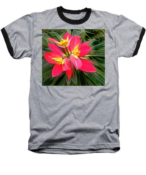 Exotic Red Flower Baseball T-Shirt