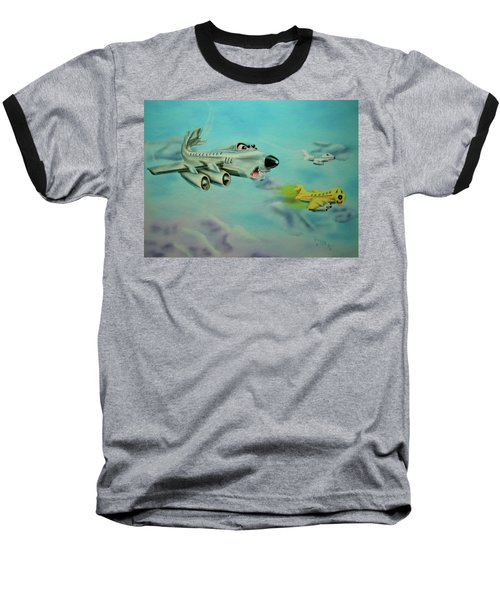 Baseball T-Shirt featuring the painting Extreme Airline Mergers by Thomas J Herring