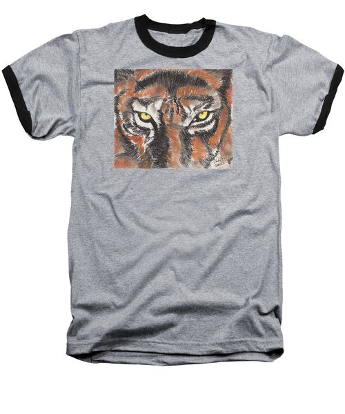Baseball T-Shirt featuring the pastel Eye Of The Tiger by David Jackson