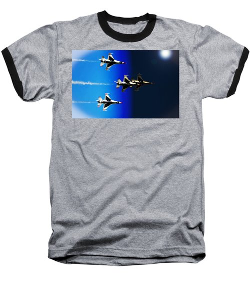 Baseball T-Shirt featuring the photograph F16 Flight Into Space by DigiArt Diaries by Vicky B Fuller