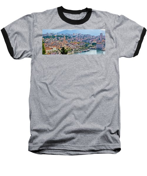Fabulous Split Waterfront Aerial Panorama Baseball T-Shirt by Brch Photography