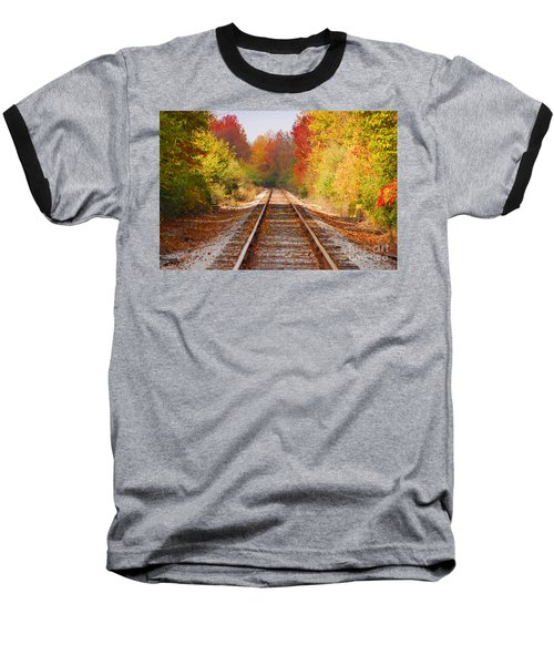 Fading Tracks Baseball T-Shirt by Mary Carol Story