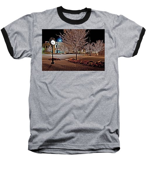 Fairhope Ave With Clock Night Image Baseball T-Shirt