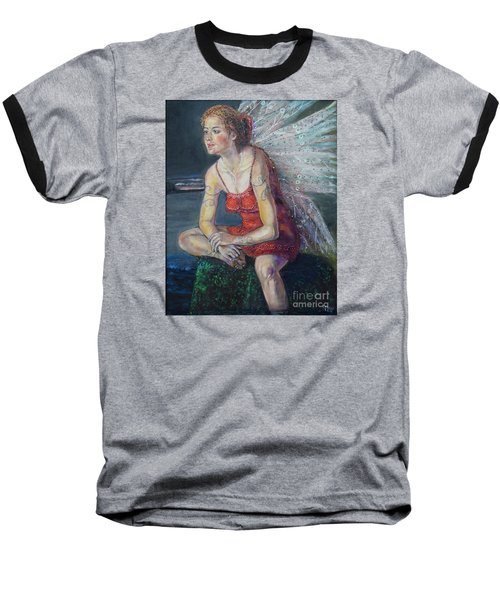 Fairy On A Stone Baseball T-Shirt