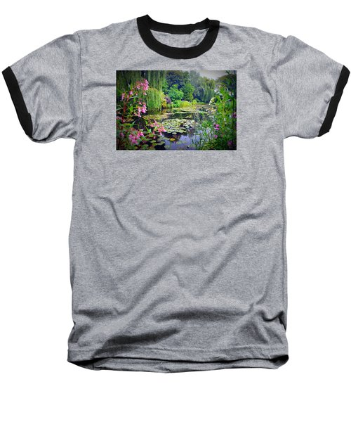 Fairy Tale Pond With Water Lilies And Willow Trees Baseball T-Shirt by Carla Parris