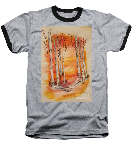 Baseball T-Shirt featuring the painting Fall Aspen On Paper by Janice Rae Pariza