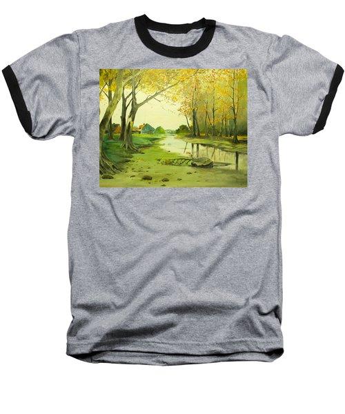 Fall By The Stream By Merlin Reynolds Baseball T-Shirt