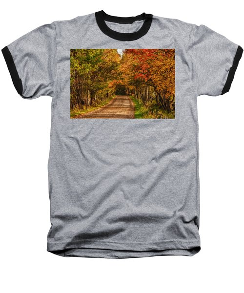 Baseball T-Shirt featuring the photograph Fall Color Along A Dirt Backroad by Jeff Folger