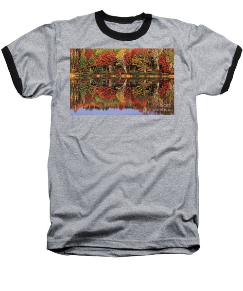 Baseball T-Shirt featuring the photograph Fall Color Reflected In Thornton Lake Michigan by Dave Welling