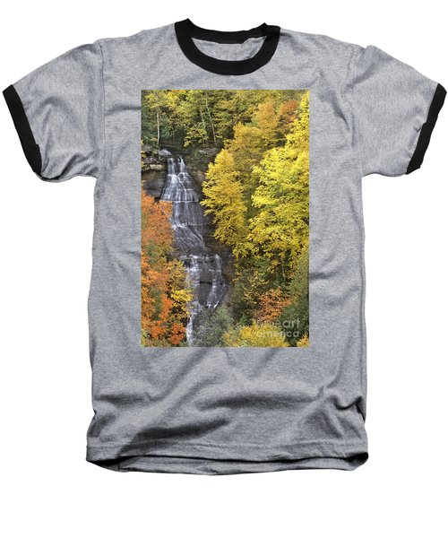 Fall Color Surrounds Chapel Falls On The Michigan Upper Peninsula Baseball T-Shirt by Dave Welling