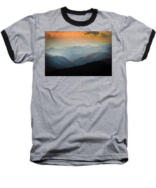 Fall Foliage Ridgelines Great Smoky Mountains Painted  Baseball T-Shirt