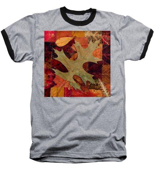 Baseball T-Shirt featuring the mixed media Fall Leaf Collage by Anna Ruzsan