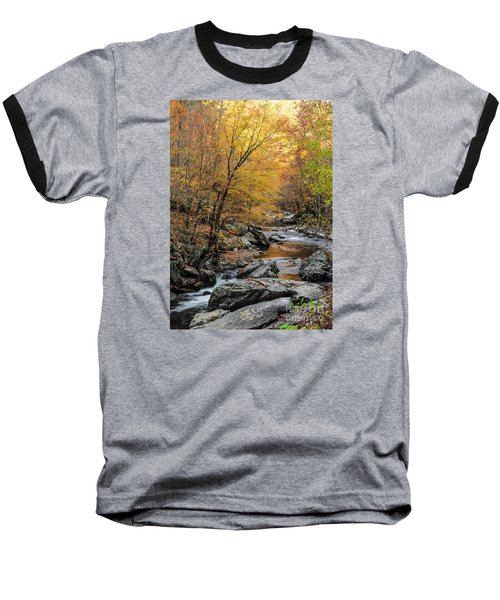 Baseball T-Shirt featuring the photograph Fall Mountain Stream by Debbie Green