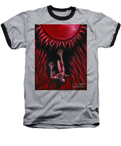 Baseball T-Shirt featuring the painting Fall Of Icarus by Roz Abellera Art