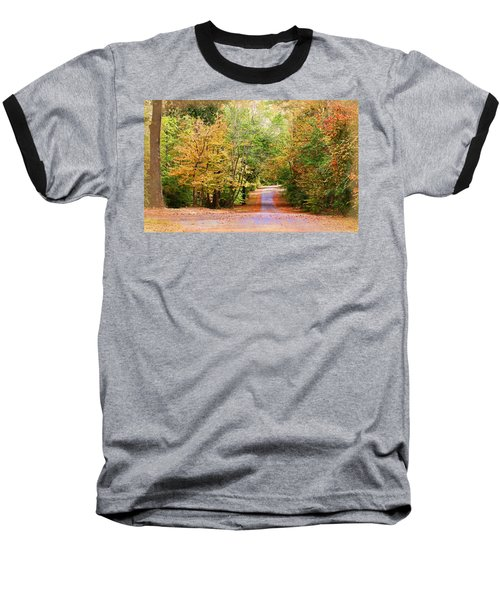 Baseball T-Shirt featuring the photograph Fall Pathway by Judy Vincent