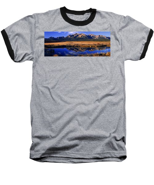 Baseball T-Shirt featuring the photograph Fall Reflections Sawtooth Mountains Idaho by Dave Welling
