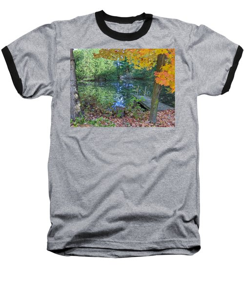 Baseball T-Shirt featuring the photograph Fall Scene By Pond by Brenda Brown