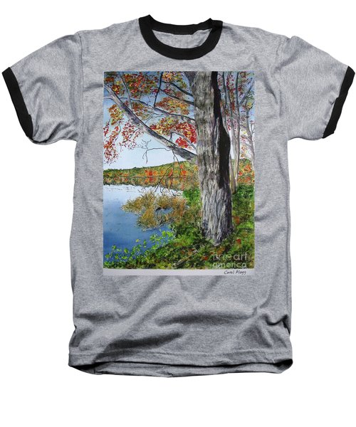 Baseball T-Shirt featuring the painting Fall Tree by Carol Flagg