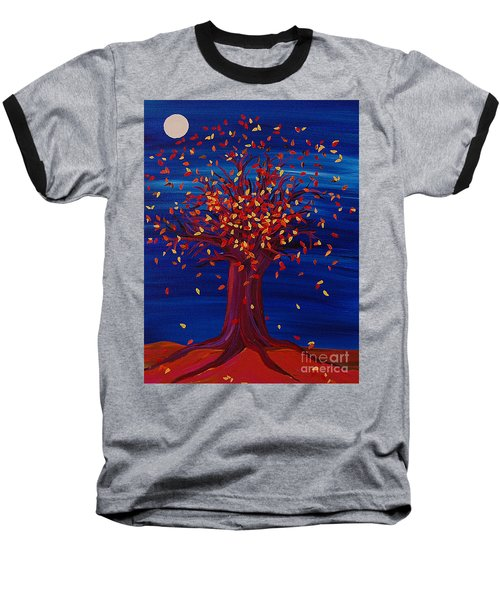 Baseball T-Shirt featuring the painting Fall Tree Fantasy By Jrr by First Star Art