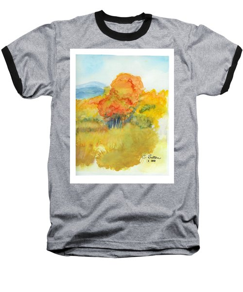 Baseball T-Shirt featuring the painting Fall Trees 2 by C Sitton