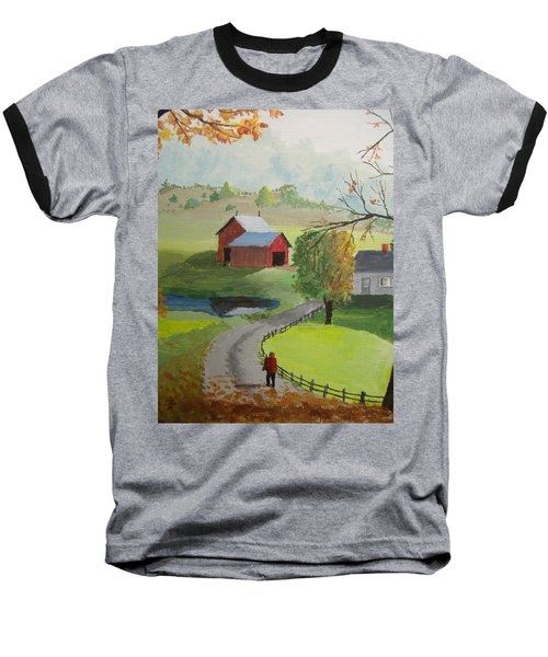Baseball T-Shirt featuring the painting Fall Walk by Norm Starks