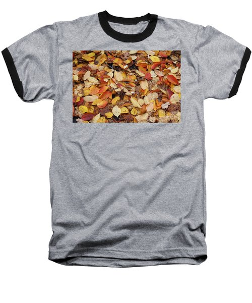 Baseball T-Shirt featuring the photograph Fallen Leaves by Dora Sofia Caputo Photographic Art and Design