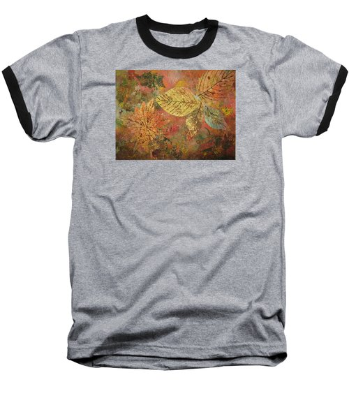 Baseball T-Shirt featuring the painting Fallen Leaves II by Ellen Levinson