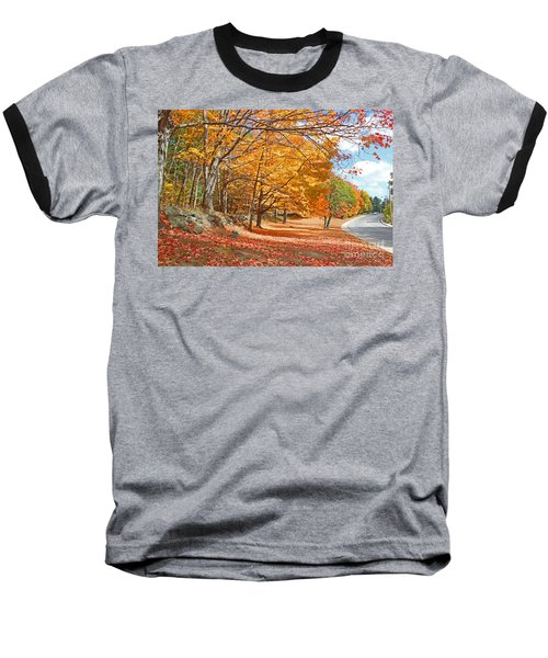 Falling Leaves On The Road To Bentley Baseball T-Shirt by Rita Brown