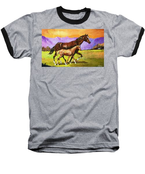 Baseball T-Shirt featuring the painting Family Stroll by Al Brown