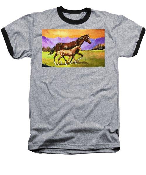 Family Stroll Baseball T-Shirt by Al Brown