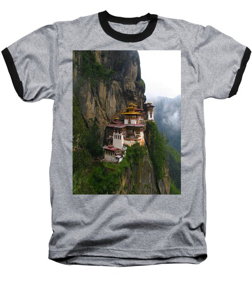 Famous Tigers Nest Monastery Of Bhutan Baseball T-Shirt by Lanjee Chee