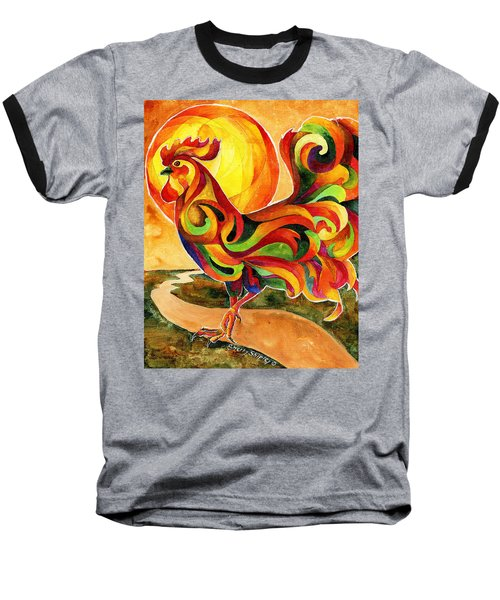 Fancy Feathers Rooster Baseball T-Shirt by Sherry Shipley