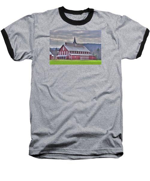 Fancy Red Barn Baseball T-Shirt by Shelly Gunderson