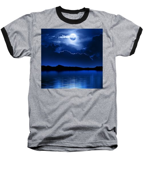 Fantasy Moon And Clouds Over Water Baseball T-Shirt by Johan Swanepoel