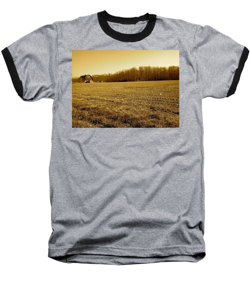 Farm Field With Old Barn In Sepia Baseball T-Shirt by Amazing Photographs AKA Christian Wilson