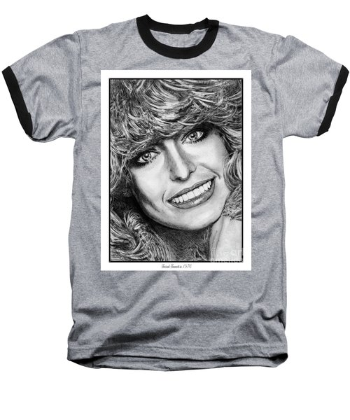 Baseball T-Shirt featuring the drawing Farrah Fawcett In 1976 by J McCombie