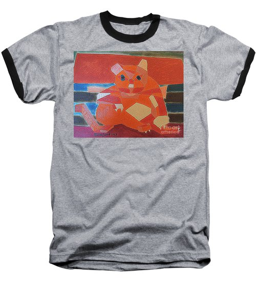 Baseball T-Shirt featuring the painting Fat Cat On A Hot Chaise Lounge by Richard W Linford
