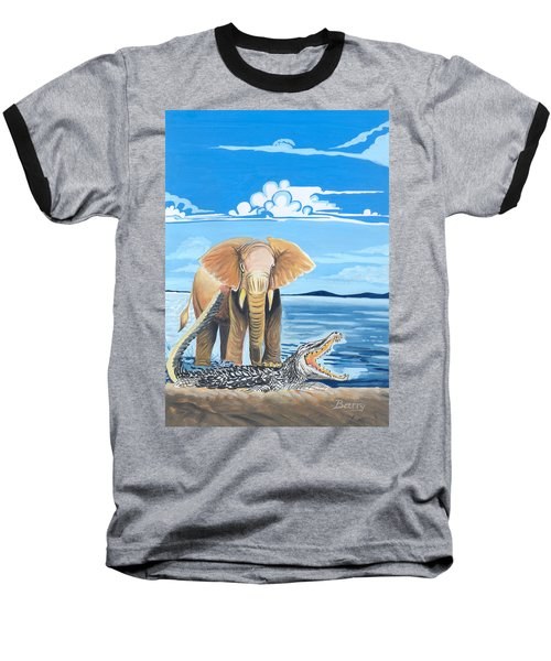 Baseball T-Shirt featuring the painting Faune D'afrique Centrale 02 by Emmanuel Baliyanga