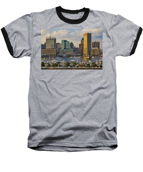 Federal Hill View To The Baltimore Skyline Baseball T-Shirt