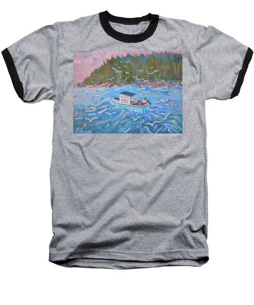 Baseball T-Shirt featuring the painting Feeding The Flock by Francine Frank