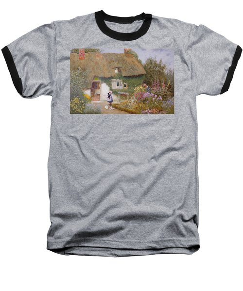 Feeding The Pigeons Baseball T-Shirt by Arthur Claude Strachan