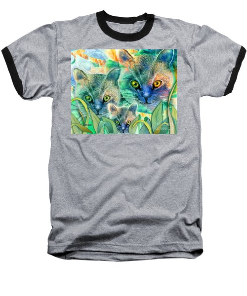 Baseball T-Shirt featuring the painting Feline Family by Teresa Ascone