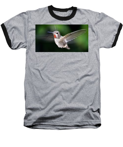 Baseball T-Shirt featuring the photograph Female Caliope Hummingbird In Flight by Jay Milo