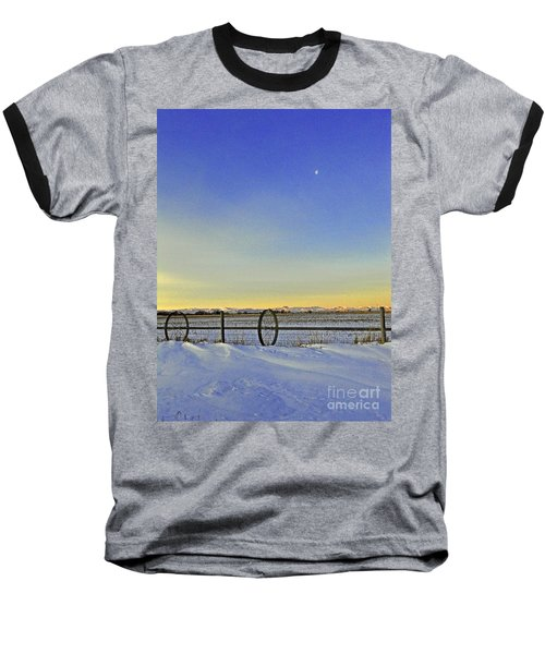 Fence And Moon Baseball T-Shirt